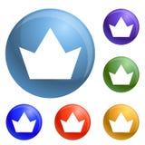 Korona ikona ustawiający wektor royalty ilustracja