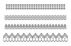 Koronkowa bezszwowa granica odizolowywająca Wektorowy maswerku faborek, krezka ilustracji