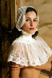 Koronkowa kołnierz kobieta Zdjęcia Royalty Free