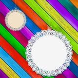 Koronkowa rama na kolorowym drewnianym tle. + EPS8 Obraz Royalty Free
