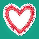 Koronkowa serce rama Fotografia Royalty Free
