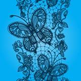 Koronkowi bezszwowi wzory w postaci motyli i ścig royalty ilustracja