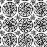 Koronkowy bezszwowy wzór z czernią kwitnie na bielu Zdjęcia Royalty Free