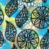 Koronkowy bezszwowy wzór z kwiatów i liści błękitnym brązem zielenieje Zdjęcia Stock