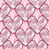 Koronkowy bezszwowy wzór z ornamentacyjnymi sercami Tekstura dla valentines dnia opakunkowego papieru, ślubny zaproszenia tło, tk Fotografia Royalty Free