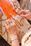 koronkowy bobiny robienie Zdjęcia Royalty Free