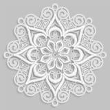 Koronkowy 3D mandala, round symetryczny openwork wzór, dekoracyjny płatek śniegu, arabski ornament, dekoracyjny projekta element, ilustracja wektor