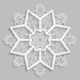 Koronkowy 3D mandala, round symetryczny openwork wzór, dekoracyjny płatek śniegu, arabski ornament, dekoracyjny projekta element, royalty ilustracja