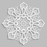 Koronkowy 3D mandala, round symetryczny openwork wzór, dekoracyjny płatek śniegu, arabski ornament, dekoracyjny projekta element royalty ilustracja