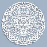 Koronkowy 3D mandala, round symetryczny openwork wzór, koronkowy doily, dekoracyjny płatek śniegu, arabski ornament, indyjski orn ilustracji