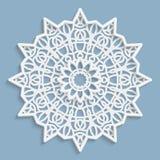 Koronkowy 3D mandala, round symetryczny openwork wzór, koronkowy doily, dekoracyjny płatek śniegu, arabski ornament, indyjski orn royalty ilustracja