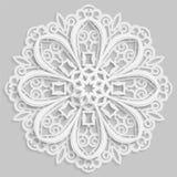 Koronkowy 3D mandala, round symetryczny openwork wzór, koronkowy doily, dekoracyjny płatek śniegu Zdjęcia Stock