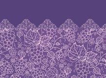 Koronkowy gronowych winogradów horyzontalny bezszwowy wzór ilustracja wektor