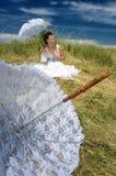 koronkowy panna młoda parasol Zdjęcia Royalty Free