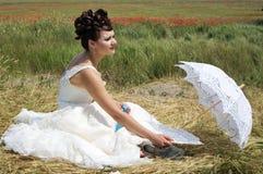koronkowy panna młoda parasol Fotografia Royalty Free