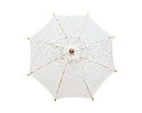 Koronkowy parasol, parasolowy handmade na białym tle z clipp, Fotografia Stock
