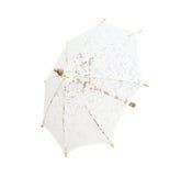 Koronkowy parasol, parasolowy handmade na białym tle z clipp, Obraz Royalty Free