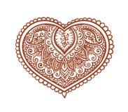 Koronkowy serce - etniczny henna tatuaż Wektor dla walentynki ilustracji