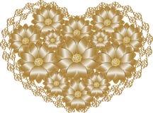 Koronkowy złoty serce Zdjęcie Royalty Free