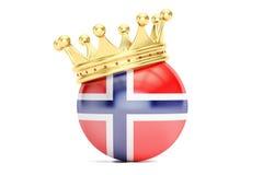 Koronuje z flaga królestwo Norwegia, 3D rendering Zdjęcia Stock