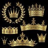 koronuje złocistego set royalty ilustracja