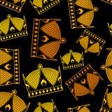 korony bezszwowy deseniowy cesarz Królewska tekstura Pióropuszu symbol Obraz Royalty Free