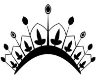 Korony ikona w modnym mieszkanie stylu Monarchii w?adza i kr?lewscy symbole Monochromatyczne rocznika antyka ikony ilustracja wektor