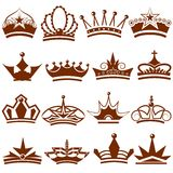 Korony ikony kolekcja Obraz Royalty Free