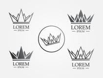 Korony ikony Kreskowy logo ilustracja wektor