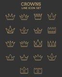 Korony ikony kreskowy set Obraz Royalty Free