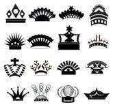 Korony ikony set Fotografia Royalty Free