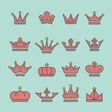 Korony ikony ustalony kreskowy styl Fotografia Royalty Free
