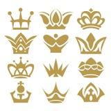 Korony kolekcja korona set, sylwetki korona ustawiający (,) Zdjęcie Stock