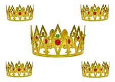 korony złoto pięć Zdjęcia Royalty Free