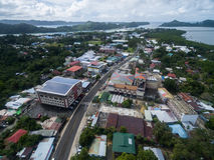 KOROR, ПАЛАУ - 3-ЬЕ ДЕКАБРЯ 2016: Городок Koror в острове Палау стоковое изображение