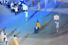 Korowód Paraolympic drużyna Ukraina przy otwarciem zima Zdjęcia Royalty Free