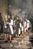 Korowód wiara w Świętym tygodniu w ulicach Lima obrazy stock