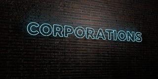 KORPORACJE - Realistyczny Neonowy znak na ściana z cegieł tle - 3D odpłacający się królewskość bezpłatny akcyjny wizerunek royalty ilustracja