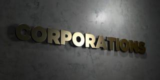 Korporacje - Złocisty tekst na czarnym tle - 3D odpłacający się królewskość bezpłatny akcyjny obrazek royalty ilustracja