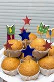 Korporacyjnego biura muffins na tle story Zdjęcia Royalty Free