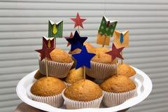Korporacyjnego biura muffins na tle story Zdjęcie Royalty Free