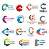 Korporacyjnej tożsamości biznesowe ikony, listowy c ilustracja wektor
