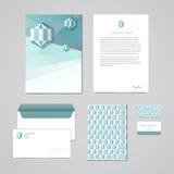 Korporacyjnej tożsamości projekta szablon Dokumentacja dla biznesu falcówka, letterhead, koperta, notatnik i wizytówka (,) Geomet Fotografia Royalty Free