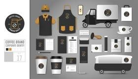 Korporacyjnej tożsamości szablon Ustawia 17 Loga pojęcie dla sklep z kawą Ilustracja Wektor