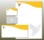 Korporacyjnej tożsamości Ustawiająca pomarańcze - ulistnienie w Y listu kształcie - Obraz Stock