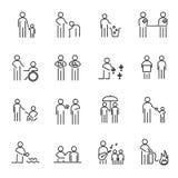Korporacyjni odpowiedzialność społeczna ludzie cienieją kreskowej ikony ustalonego wektor Obrazy Stock