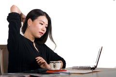 Korporacyjny firma portret młoda piękna i ruchliwie Azjatycka Chińska biznesowa kobieta pracuje przy biurowego komputeru biurkiem obraz royalty free