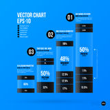 Korporacyjny infographics szablon na jaskrawym błękitnym tle Obrazy Stock
