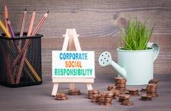 Korporacyjny odpowiedzialność społeczna biznesu pojęcie Miniaturowy podlewanie garnek z świeżą zieloną wiosny trawą i małą zmianą zdjęcie royalty free