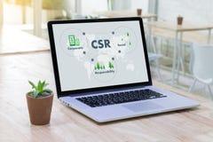 Korporacyjny odpowiedzialności społecznej CSR Responsib i trwałość fotografia stock